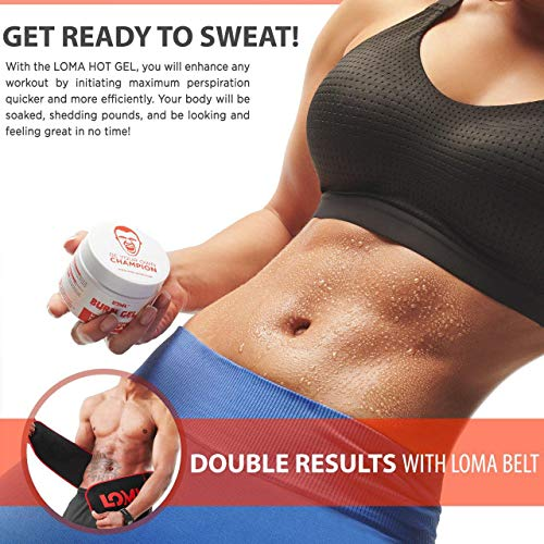 LOMA Hot Cream- Premium Workout Sweat Cream - Slimming Cream for Belly Women Men - Heating Cream - Aloe Extract - Lipo Gel Cellulite for Abdomen and Waist -Bonus Meal Plan 4