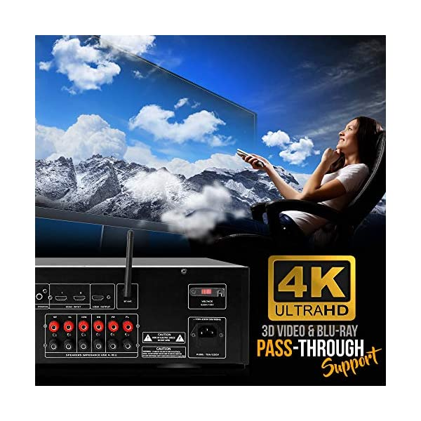 MP3//USB//AM//FM Radio Pyle PT696BT 5.2-Ch Surround Sound Stereo Amplifier System with 4K Ultra HD 1000W Bluetooth Home Theater Receiver 3D Video /& Blu-Ray Video Pass-Through Supports