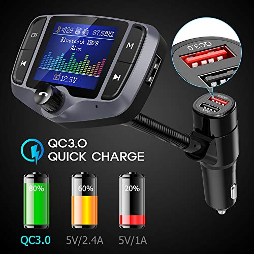 """Nulaxy Bluetooth FM Transmitter for Car, 1.8"""" Color Screen Wireless Radio Adapter Handsfree Car Kit with QC3.0 & 5V/2.4A Charging, Support USB Drive, microSD, Aux, EQ, Car Battery Reading– KM29 Grey"""
