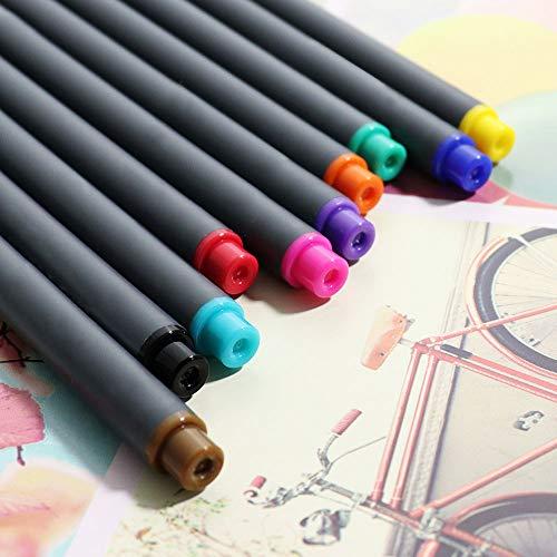 Fineliner Color Pen Set 0.38mm Fiber Nibs Colored Fine Line Point Assorted Colors, Pack of 10