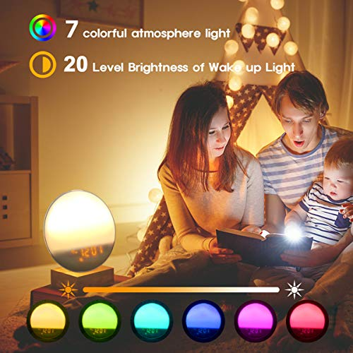 LATME-Sunrise-Alarm-Clock-Wake-Up-Light Compatible with Alexa Google Home with Colored Sunrise Simulation and Sunset Fading Night Light for bedrooms,FM Radio,4 Alarms with Snooze Function (White-G1)
