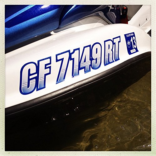 """Stiffie Techtron Black/White 3"""" Alpha-Numeric Registration Identification Numbers Stickers Decals for Boats & Personal Watercraft"""