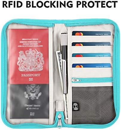 Gonex YKK Zipper Passport Holder Travel Wallet - RFID Blocking Document Organizer Bag for Women Men Family - with Silicone Luggage Tag (Light Blue)