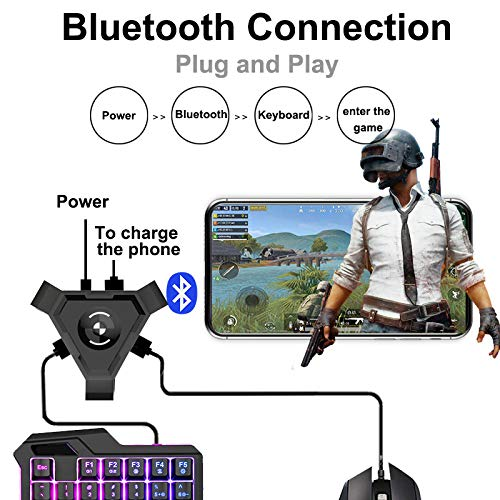 Alician PUBG Mobile Gamepad Controller Gaming Keyboard Mouse Converter for Android Phone to PC Bluetooth Adapter Android Apple Universal
