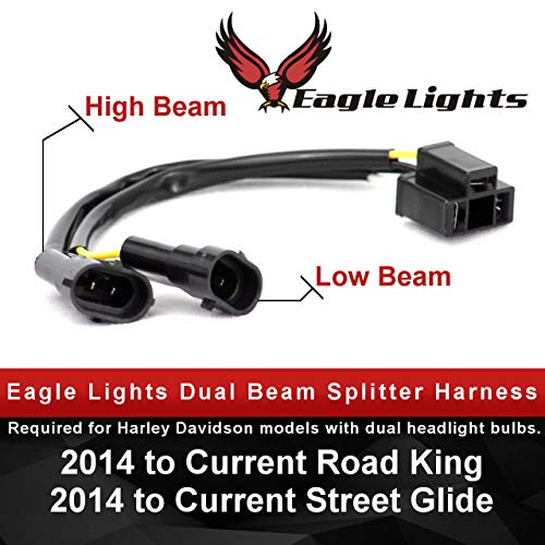 Eagle Lights Dual Beam Wire Splitter Harness, H4 to H9 or H11, fits Dual Bulb Harley Davidson Motorcycle Headlights