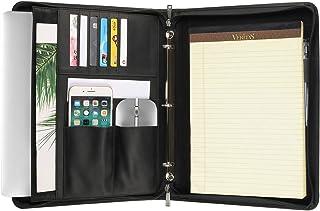 $102 » Handmade Crazy-Horse Leather 3-Ring Binder Portfolio Vintage Padfolio, Zippered Closure, Business Organizer Tablet Folio Folder,Professional Organizer Gift for Men & Women