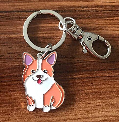 Feb.7 Keychain,Welsh Corgi Dog Keychain - Corgi Keyring- Corgi Bag Charm - Dog Tag - Gifts for Dog Lover (Silver)