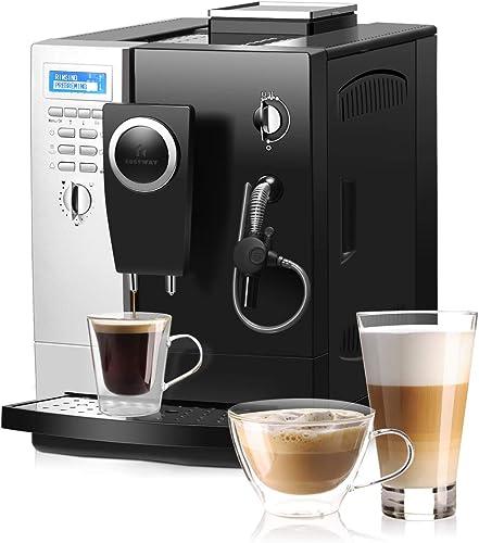 COSTWAY Super Automatic Espresso Machine, All-In-One Design, 19 Bar Pump, Built-In Milk Frother & Steamer