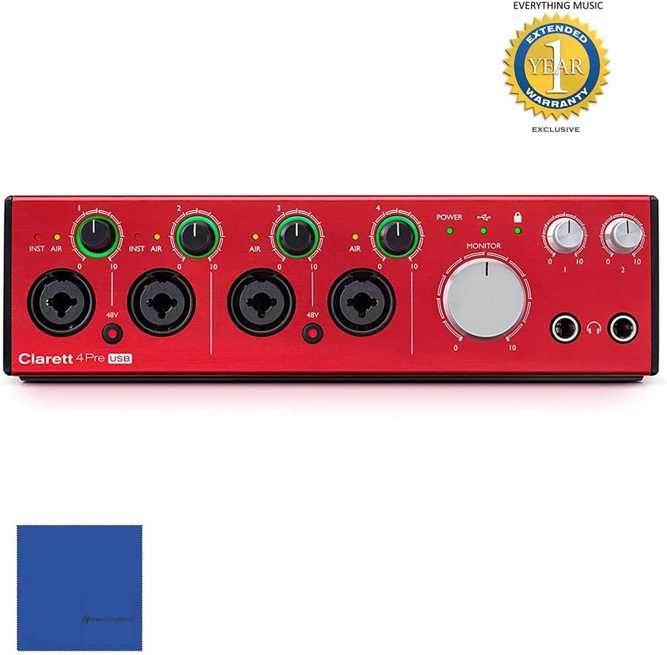 Focusrite Clarett 4Pre USB 18-in/8-out USB 2.0 Audio Interface with 1 Year Free Extended Warranty and Microfiber