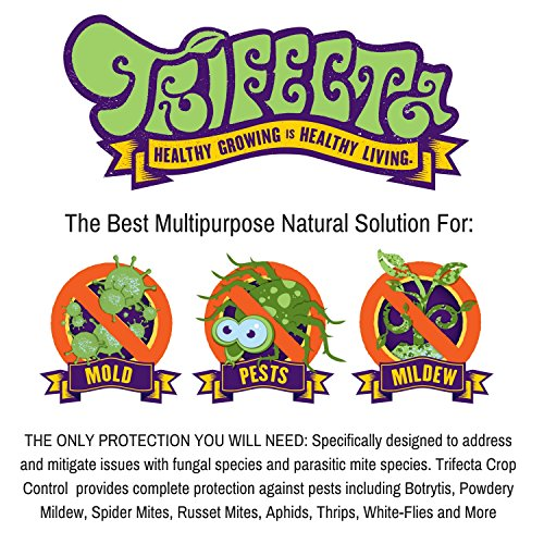 Trifecta Crop Control Super Concentrate All-in-One Natural Pesticide, Fungicide, Miticide, Insecticide, Eliminate Spider Mites, Powdery Mildew, Botrytis, Mold and More on Plants Non-Toxic - 16 OZ