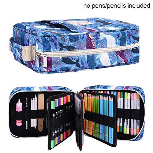 202 Colored Pencils Pencil Case - 136 Color Gel Pens Pen Bag or Marker Organizer - Universal Artist Use Supply Zippered Large Capacity Slot Super Big Professional Storage qianshan Finless Porpoise