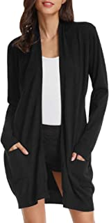 Essential Solid Open Front Long Knitted Cardigan Sweater...