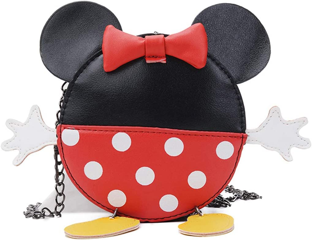 RARITYUS Cute Bowknot Crossbody Bag Cartoon Shoulder Purse Wallet with Mouse Ears for Boys Girls Kids Toddlers