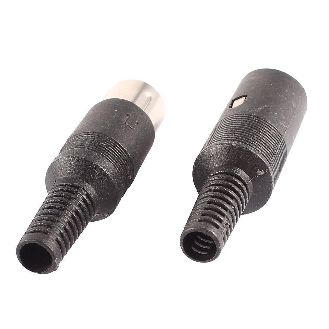 uxcell Pair Black DIN 6 Pin Female + Male Adapter Socket Audio AV Connector