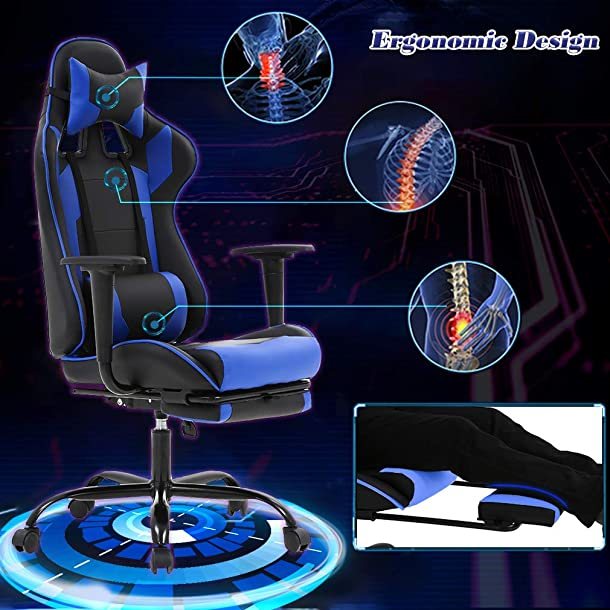 Executive, Swivel, Leather Racing Style, High-Back Gaming Office Chair with Lumbar Support and Headrest