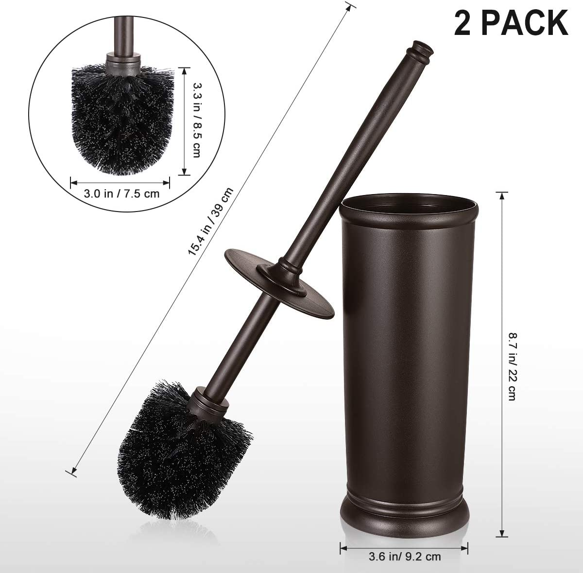 Toilet Brush and Holder, Deep Cleaning Toilet Bowl Brush Set Ergonomic 2 Pack - Bronze