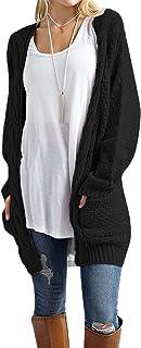 Women's Open Front Long Sleeve Boho Boyfriend Knit Chunky...
