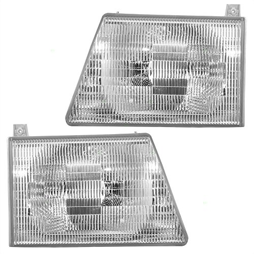 Driver and Passenger Composite Headlights Headlamps Replacement for Ford Van 6C2Z 13008 BA 6C2Z 13008 AA