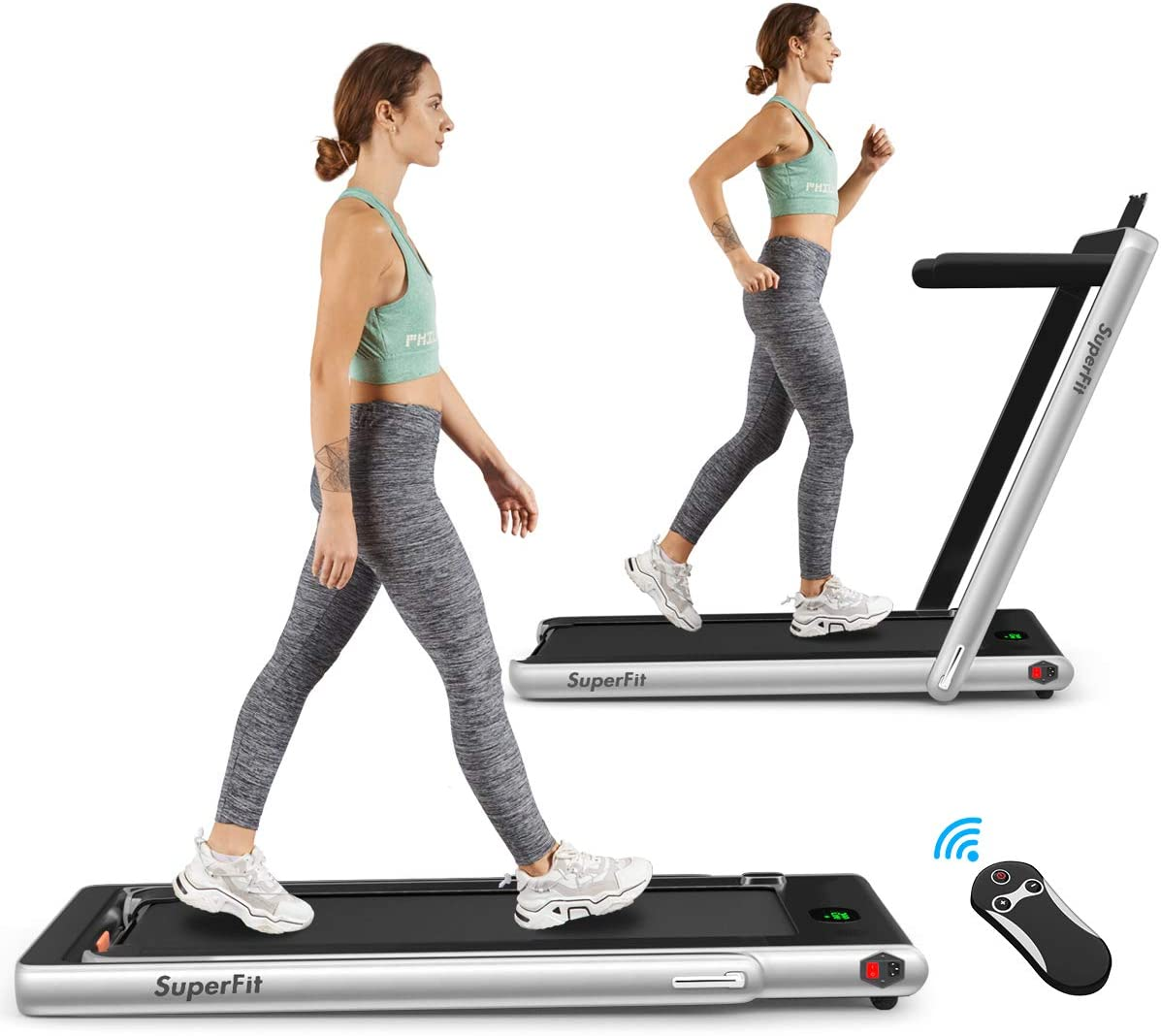 Goplus 2-in-1 2.25HP Folding Electric Treadmill with Bluetooth Speaker, Remote Control, LED Display