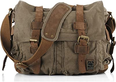 Sechunk Vintage Military Leather Bag Messenger Bags