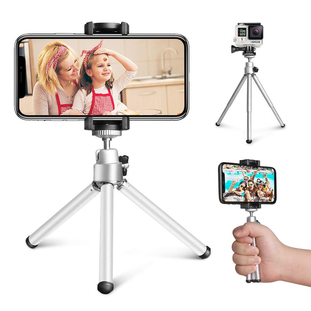 Mini Tripod, Aureday Portable Desktop Cell Phone Tripod Stand with Phone Holder Mount, 5.12-inch Extendable Handheld…