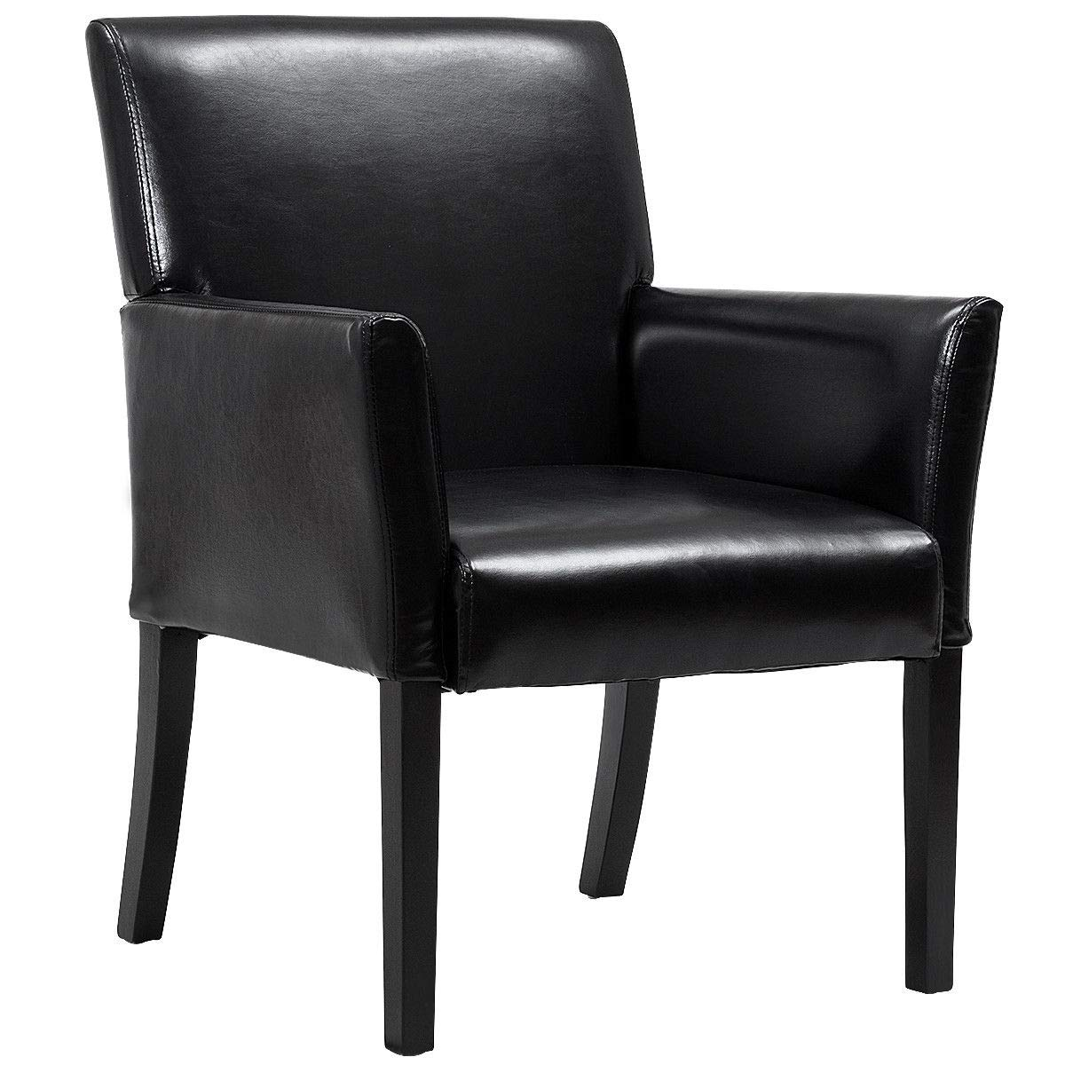 Giantex Leather Reception Guest Chairs W/Padded Seat and Arms Ergonomic  Mid-Back Office Executive Side Chair for Meeting Waiting Room Conference
