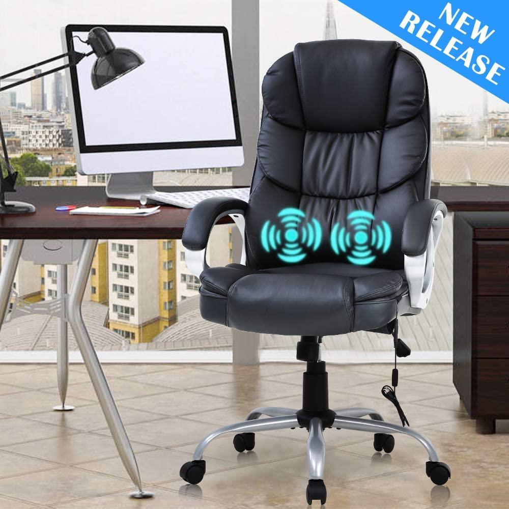 Ergonomic Home Office Chair Desk Chair Executive Chair High Back Leather Computer Chair with Arms Lumbar Support Headrest Massasge Height Adjustable Swivel Rolling Task Chair