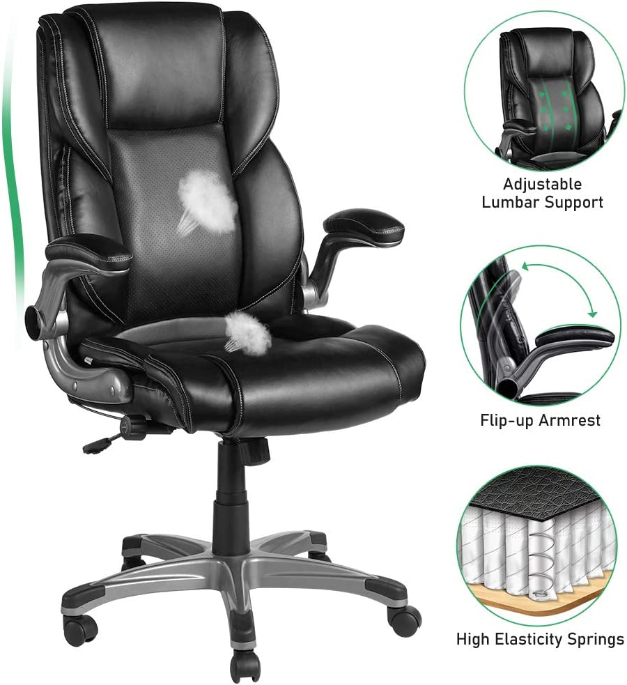 VANSPACE Executive Office Chair High Back EC02 Bonded Leather Executive Chair - Adjustable Built-in Lumbar Support and Tilt Angle Armrest Desk Chair