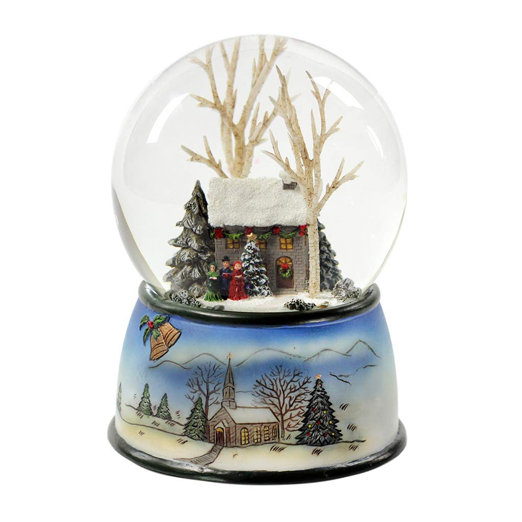 5.5 Cottage With Tree Glitter Silver Base 100mm Dome Plays Ill Be Home For Christmas by Roman by Roman