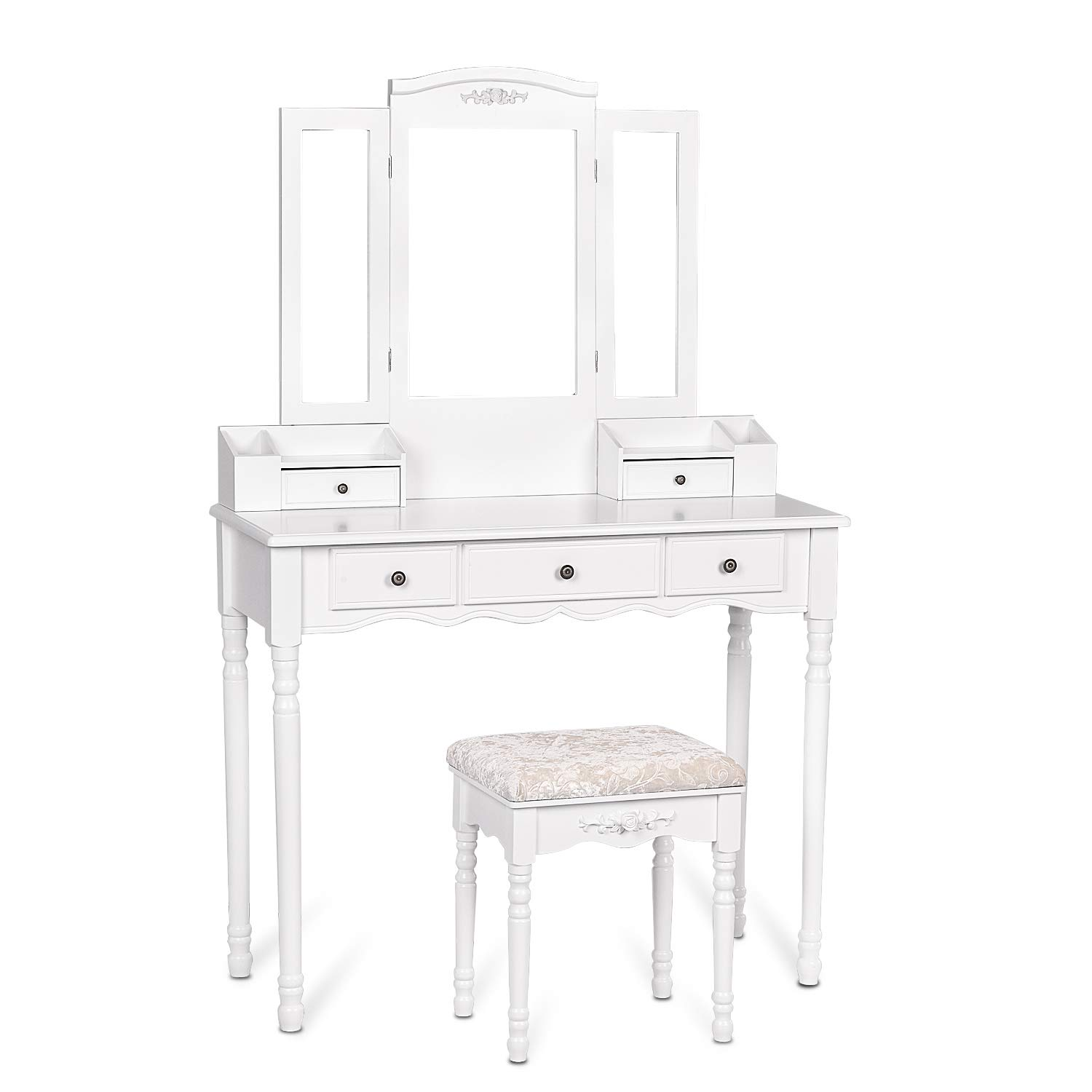 Amolife XL Large Makeup Vanity Set, Dressing Table with Tri-Folding Mirrors, Makeup Desk with 5 Drawers and Cushioned Stool for Women Girls, White