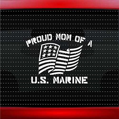 Noizy Graphics Proud Marine Mom #1 Military Sailor Car Sticker Truck Window Vinyl Decal Color: Navy Blue