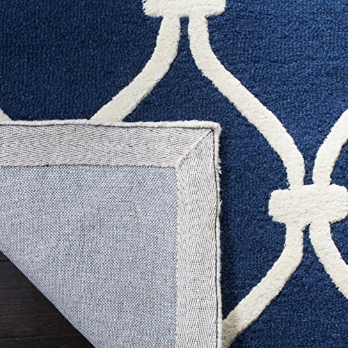 Safavieh Cambridge Collection CAM710M Handcrafted Moroccan Geometric Navy and Ivory Premium Wool Area Rug (5' x 8')