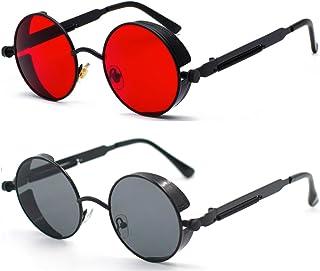 Retro Gothic Steampunk Sunglasses for Women Men Round...
