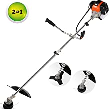 COOCHEER 42.7cc String Trimmers 2-in-1 Weed Eater Gas Straight Shaft Weed Trimmer/Brush Cutter 2-Cycle with U-Handle, 2 Different Trimming Head for Small Grass/Heavy Bush(Orange)