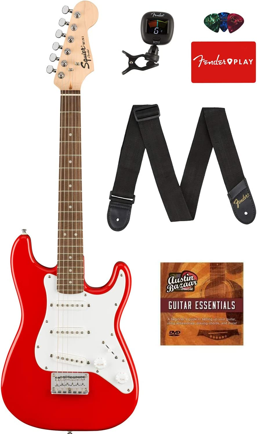 Fender Squier 3/4 Size Kids Mini Strat Electric Guitar - Red Bundle with Tuner