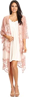 Womens Long Embroidered Lace Kimono Cardigan with Half...