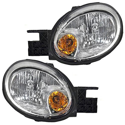 Headlights Headlamps with Chrome Bezels Driver and Passenger Replacements for 03-05 Dodge Neon 5303551AI 5303550AI