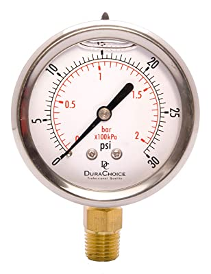 """2-1/2"""" Oil Filled Pressure Gauge - Stainless Steel Case, Brass, 1/4"""" NPT, Lower Mount Connection 0-30PSI"""