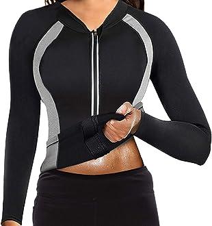 Women Neoprene Sauna Suit Hot Sweat Body Shaper Workout Jacket Cycling Jersey Weight Loss