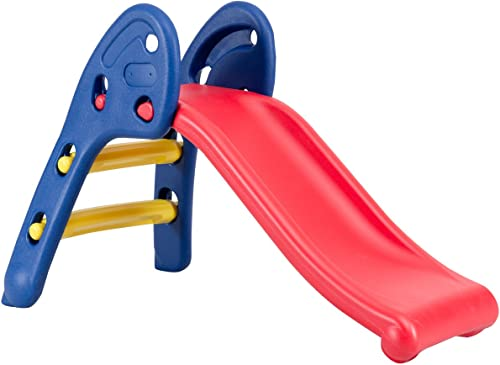 Baby Joy Folding Slide red slide with blue and yellow step ladder with high handrails