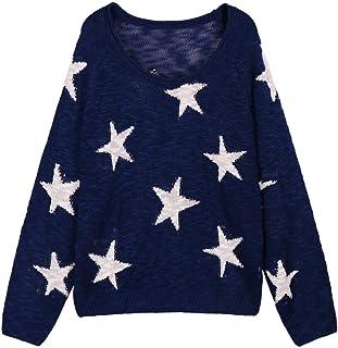 Women's Boat V Neck Long Sleeve Star Pullover Sweater...
