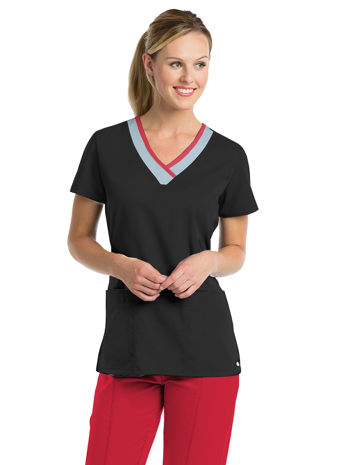 Grey/'s Anatomy Active Women/'s 41466 3 Pocket Color Block Top