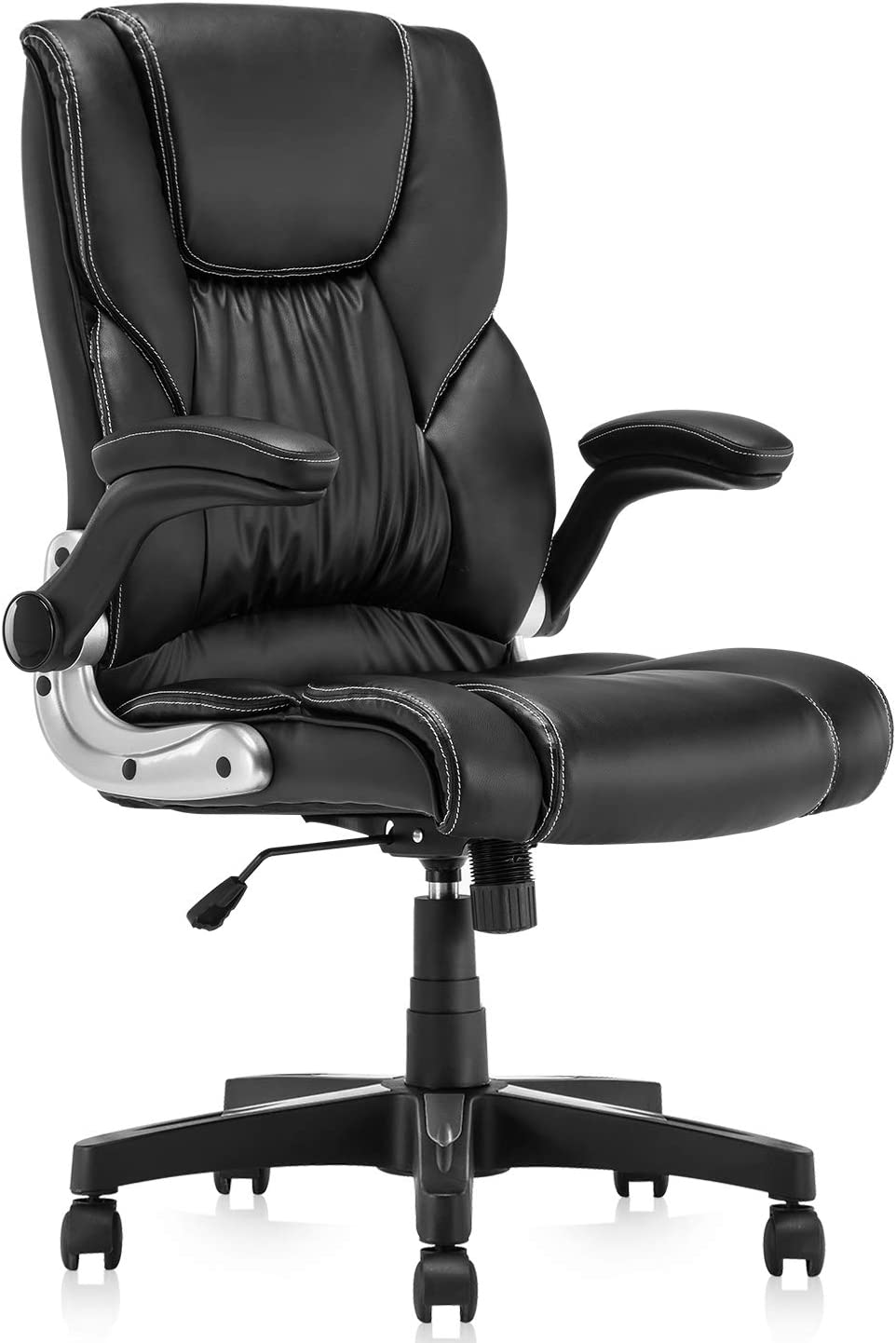 B2C2B Leather Executive Office Chair - High Back Computer Desk Chair with Adjustable Angle Recline and Seat Height Thick Padding