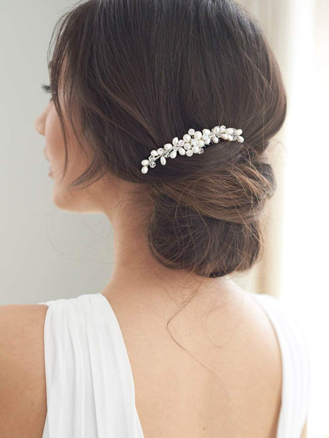 Brishow Bride Wedding Hair Comb Crystal Bridal Hair Pieces Pearl Hair Accessories For Women And Girls Silver Buy Online In Belize Brand Brishow Products In Belize See Prices Reviews