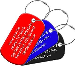 Highly Durable Anodized Aluminum 2 Pack Customized Travel ID Tag - Luggage Tag - Personalized ID Travel Tag - Engraved Luggage Tag