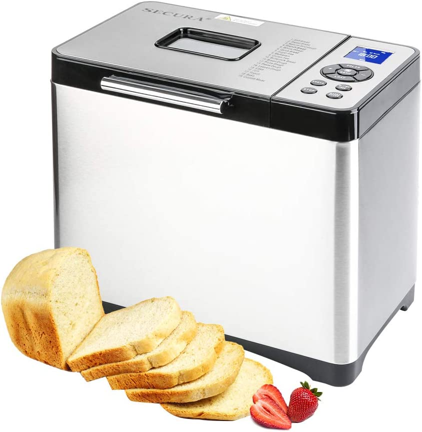 Secura 2.2lb Stainless Steel Bread Maker Machine