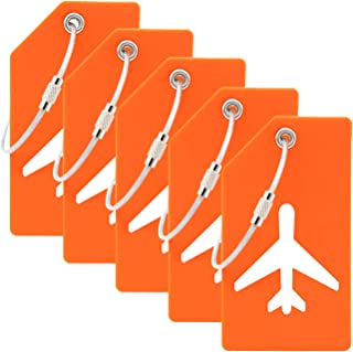 5PCS Y.A. LOTUS Silicone Luggage Tags with Name ID Card and Stainless Steel Loop, Premium Flexible Travel ID Bag Tag helps Quickly Spot Luggage Suitcase. for women, men - Orange…
