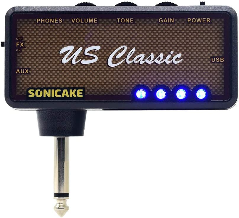 SONICAKE US Classic Plug-In USB Chargable Portable Pocket Guitar Headphone Amp Carry-On Bedroom Effects
