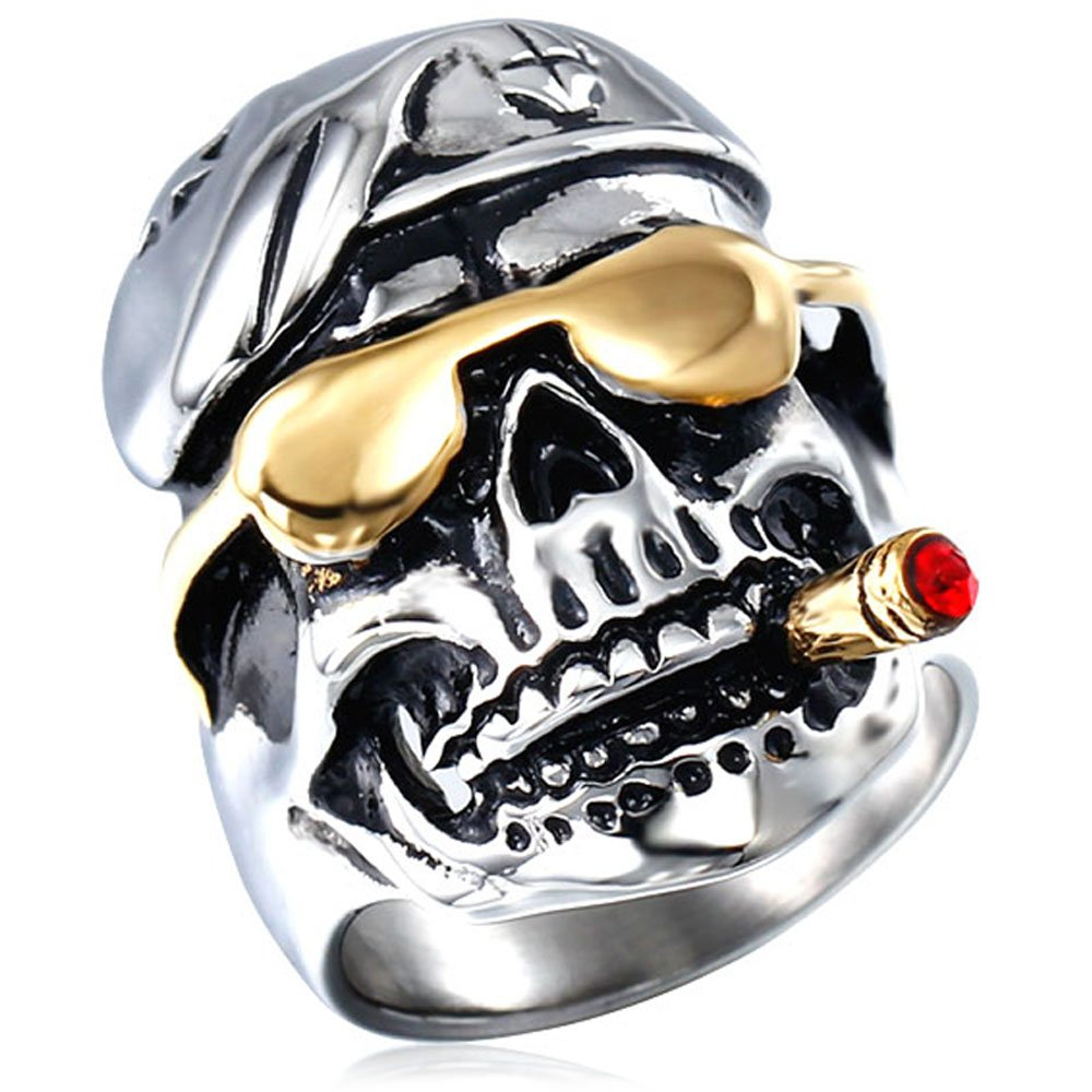 Men's Vintage Smoking Pirates Skull Glasses Gothic Biker Classic Stainless Steel Ring,Silver Red Gold