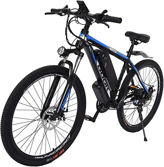 Amikadom Electric Bicycle Mountain Bike 500W 26in Electric Bicycle with Removable 10.4Ah Battery Professional 21 Speed Gears